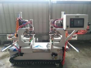 Double Head Pneumatic Automatic Glass Corner Chamfering Machine,Automatic Glass Corner Grinding Machine,Automatic Glass Raduis Polishing Machine